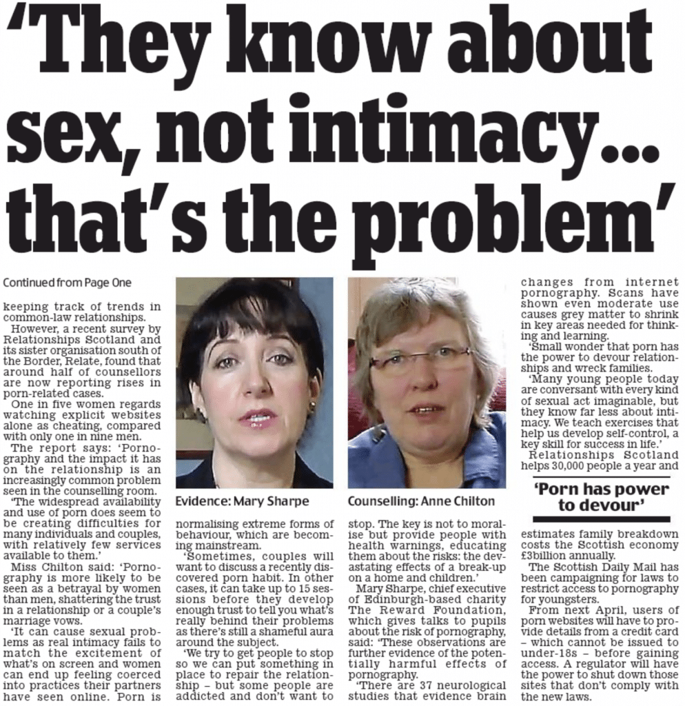 Scottish Daily Mail Page 2 text They Know about sex, not intimacy...That's the problem